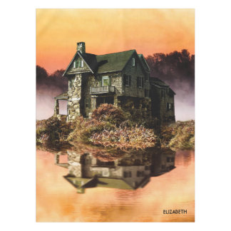 Old Vintage House On Misty Lake At Dusk Tablecloth