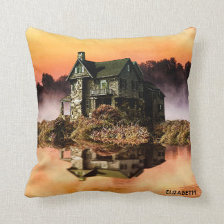 Old Vintage House On Misty Lake At Dusk Throw Pillow