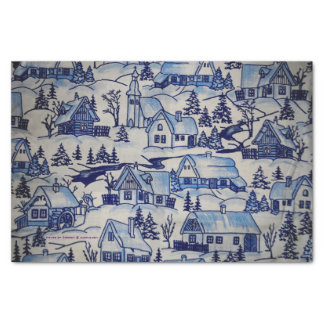 Old Vintage Merry Christmas Holiday Village Tissue Paper