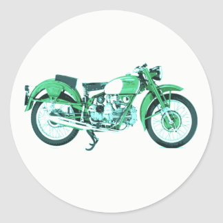 Old Vintage Motorcycle Motorbike Round Stickers