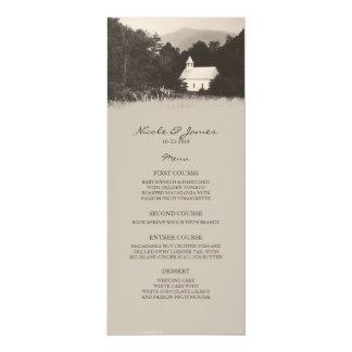 "Old Vintage Mountain Church Wedding Menu 4"" X 9.25"" Invitation Card"