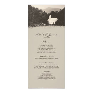 Old Vintage Mountain Church Wedding Menu 4x9.25 Paper Invitation Card