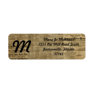 Old Vintage Newspaper Return Address Label
