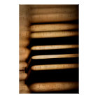 Old vintage piano keys and sheet music poster