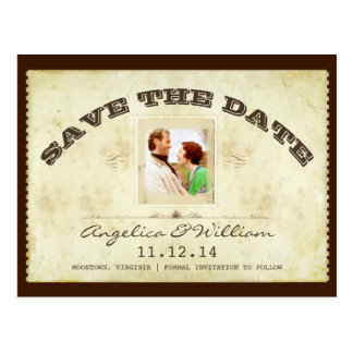 old vintage ticket  photo save the date postcards