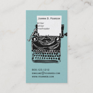Freelance writers business cards profile cards zazzle ca old vintage typewriter writer editor publishing business card colourmoves