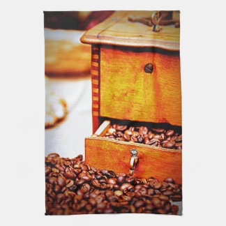 Old Vintage Wooden Coffee Grinder Beans Design Kitchen Towel