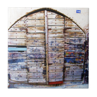 Old Vintage Wooden Greek Door, Crete Greece Tile