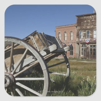 Old wagon and store fronts in Bodie State Square Sticker