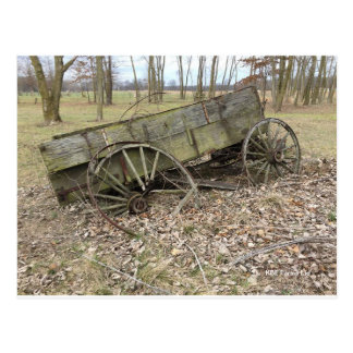 Old Wagon In Fall On The Prairie  - Postcard