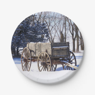 Old wagon paper plate