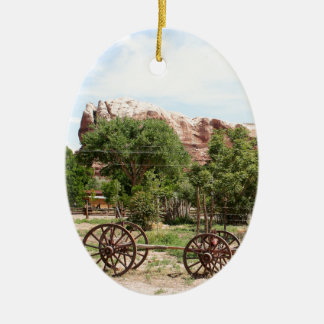 Old wagon, pioneer village, Utah 2 Ceramic Ornament
