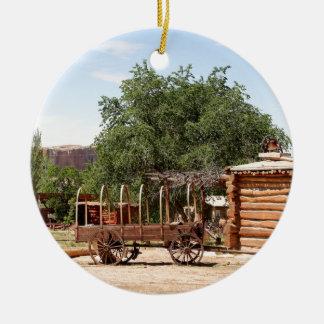 Old wagon, pioneer village, Utah Ceramic Ornament