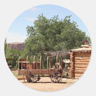 Old wagon, pioneer village, Utah Classic Round Sticker