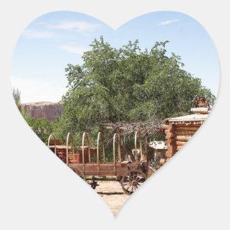 Old wagon, pioneer village, Utah Heart Sticker