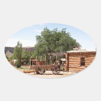 Old wagon, pioneer village, Utah Oval Sticker