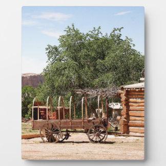 Old wagon, pioneer village, Utah Plaque