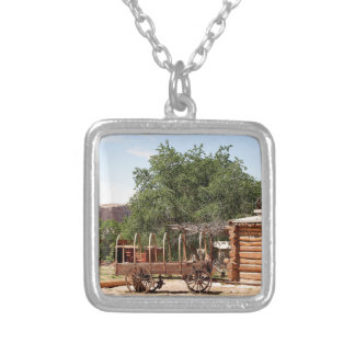Old wagon, pioneer village, Utah Silver Plated Necklace