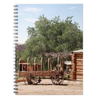 Old wagon, pioneer village, Utah Spiral Notebook