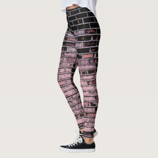Old wall bricks pattern, pink and black canvas leggings