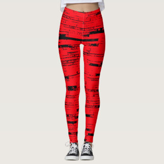Old wall bricks pattern, red and black, horizontal leggings