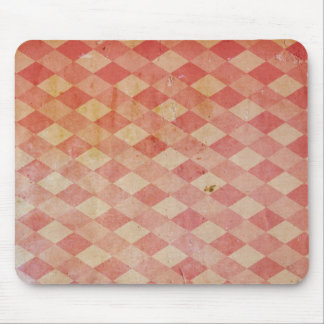 Old wallpaper red diamond pattern, retro design mouse pad