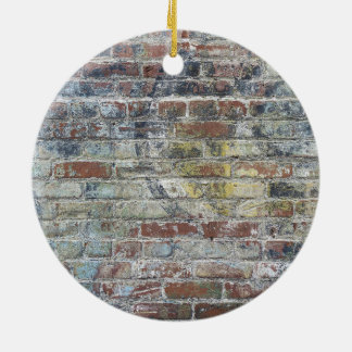 Old Weathered Brick Wall Texture Round Ceramic Ornament