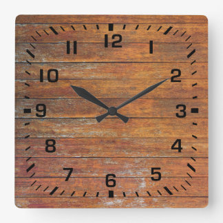 Old Weathered Faux Wooden Flooring Square Wall Clock