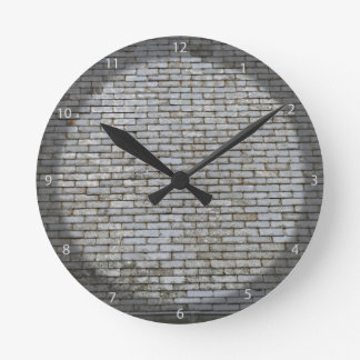Old Weathered Gray Slate Tiles Roof Round Clock