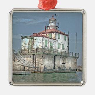 Old Weathered Lake Lighthouse Silver-Colored Square Ornament