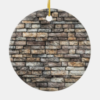 Old Weathered Stone Wall Texture Round Ceramic Ornament