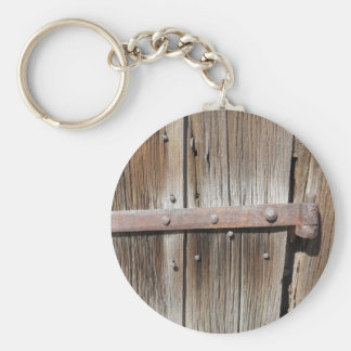 Old Weathered Wood and Rusty Metal Keychain