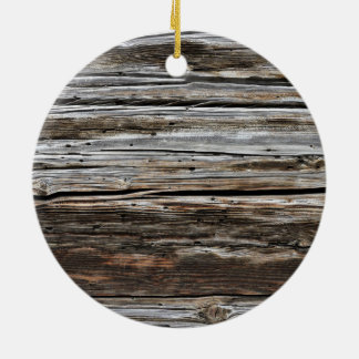 Old Weathered Wood Wall Texture Round Ceramic Ornament