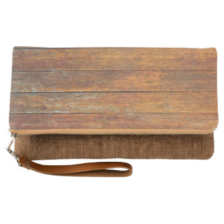 Old Weathered Wooden Flooring Clutch