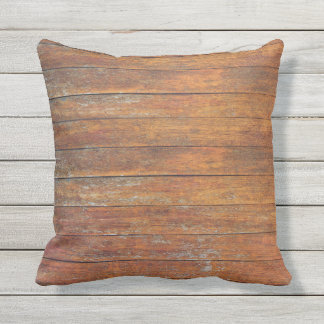 Old Weathered Wooden Flooring Texture Outdoor Throw Pillow
