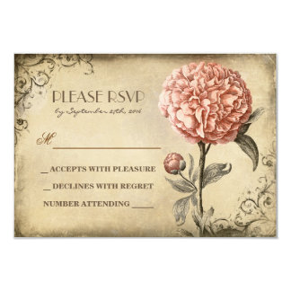 old wedding RSVP card with pink peony bloom
