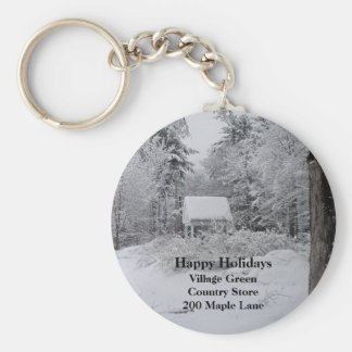 Old Well House in Winter Keychain