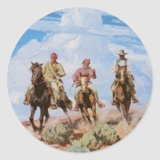 Old West Cowboys Horses Vintage 1912 Stickers