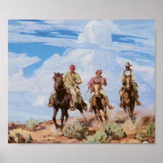 Old West Cowboys Horses Vintage 1922 Art Poster