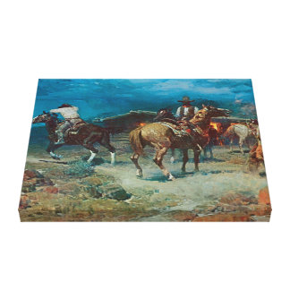 Old West Pony Express 1922  3D Art Wrapped Canvas Stretched Canvas Print