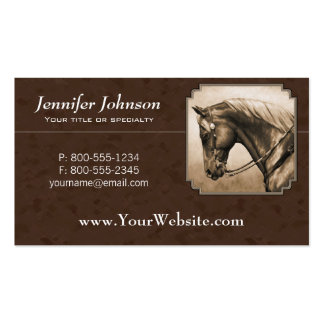 Old West Quarter Horse Sepia Brown Business Card