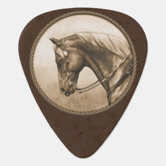 Old West Quarter Horse Sepia Brown Guitar Pick