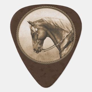 Old West Quarter Horse Sepia Brown Guitar Pick