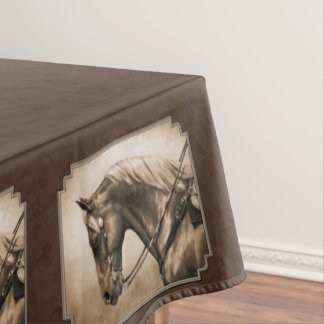 Old West Quarter Horse Sepia Brown Tablecloth