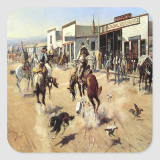 Old West Quite Day in Town Stickers