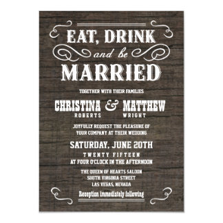 Old West Rustic Wood Wedding Invitations