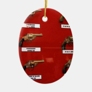 Old West Six-shooters Ceramic Oval Ornament