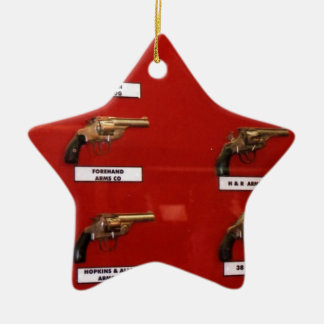 Old West Six-shooters Ceramic Star Ornament