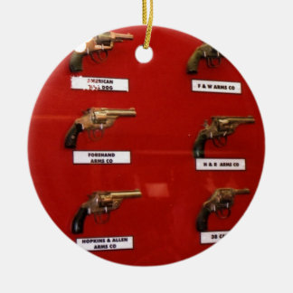 Old West Six-shooters Round Ceramic Ornament