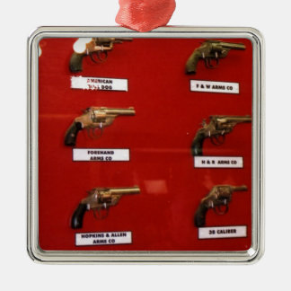 Old West Six-shooters Silver-Colored Square Ornament